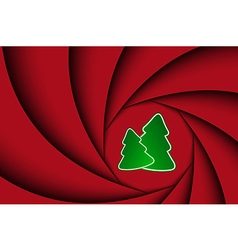 Red christmas background with two christmas tree vector image