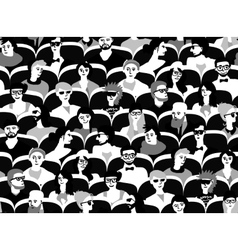 Audience group people sitting black and white vector image vector image