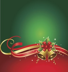 merry christmas background with bells and ribbons vector image