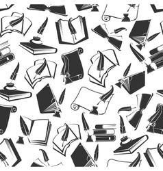 Books and ink quill seamless pattern vector image vector image
