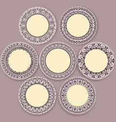Circular floral ornament template for tattoo vector