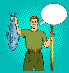fisherman with fishing rod and fish pop art vector image vector image