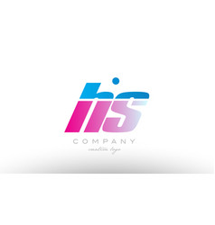 hs h s alphabet letter combination pink blue bold vector image vector image