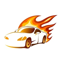Modern luxury sporty coupe with burning flames vector image vector image