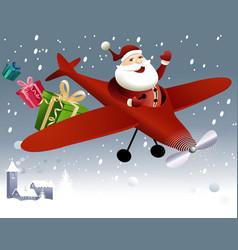 Santa Claus flying in plane vector image