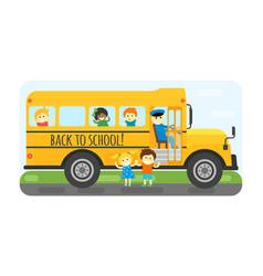 school bus kids transport vector image