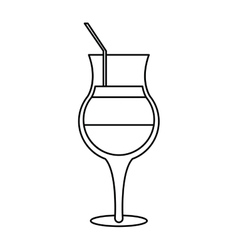 summer cocktail glass alcohol outline vector image vector image