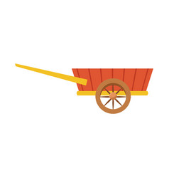 Wheelbarrow wooden farm trasnport element vector