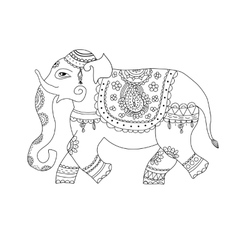 elephant in ethnic style vector image