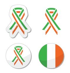 Irish ribbon flag labels - St Patricks Day vector image vector image