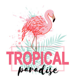 pink flamingo and green palm leaves vector image