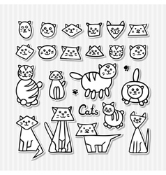 Set of hand drawn funny cats on grey striped vector image vector image