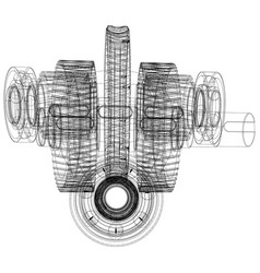 wire-frame gears with shafts close-up vector image vector image