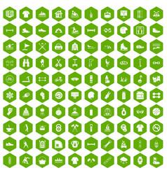 100 sport life icons hexagon green vector image