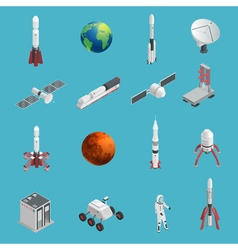 3d rocket space icon set vector