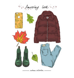 A set of autumn outfit with accessoriesdown vector