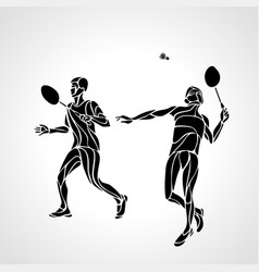 abstract mens doubles badminton players ector vector image