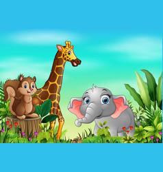 Animal cartoons in beautiful gardens vector