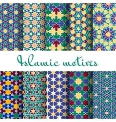Arab spring seamless pattern set vector image