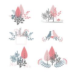 autumn bouquet doodle forest compositions vector image