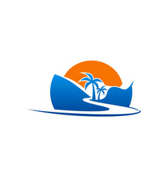 Beach road palm tree logo vector