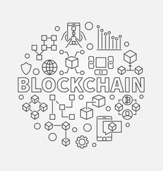 Blockchain technology round vector