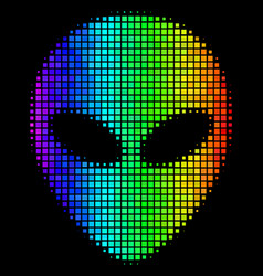 Bright dot alien face icon vector