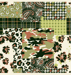 Camouflage tartan paisley floral fabric collage vector