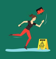 cartoon caution wet floor with character woman vector image