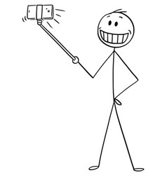Cartoon of man with artificial smile taking vector