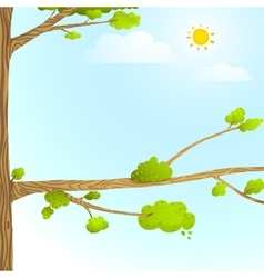 Colorful Nature Cartoon Background with Trees Sun vector