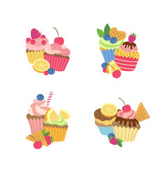 Cute cartoon muffins or cupcakes set vector