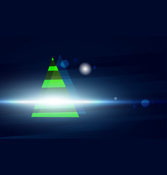 dark blue christmas background with green tree vector image