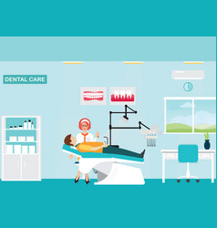 Doctor and patient at dental care clinic vector
