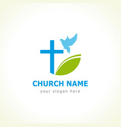 Dove cross green leaf church logo vector
