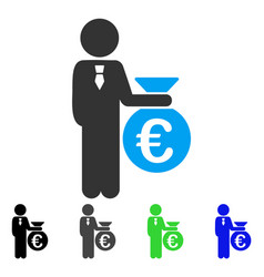 Euro banker flat icon vector