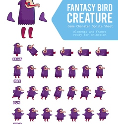 Fantasy bird creature game character sprite sheet vector