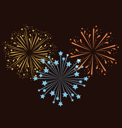 Fireworks bursting in glowing multi colours on vector