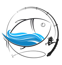 fishing rod silhouette and fish vector image