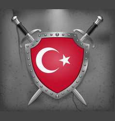 flag of turkey the shield with national flag two vector image
