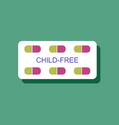 Flat icon design birth control pills in sticker vector