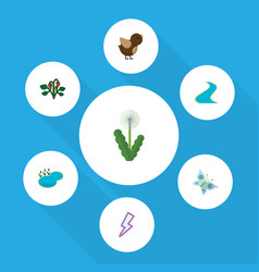 flat icon ecology set of berry tributary pond vector image