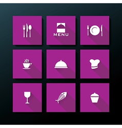 flat restaurant icon set vector image
