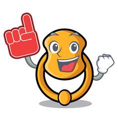 foam finger vintage door knocker on mascot cartoon vector image