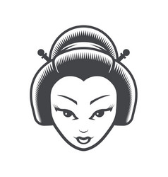 geisha japanese girl head icon vector image