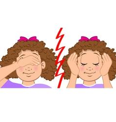 girl deaf blind vector image