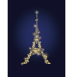 Glowing Golden Eiffel Tower in Paris vector