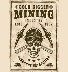Gold miner skull and crossed pickaxes retro poster vector