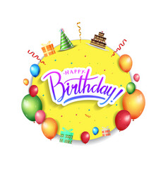 Happy birthday design with yellow circle and vector