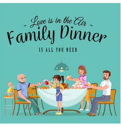 Happy family eating dinner at home people eat vector
